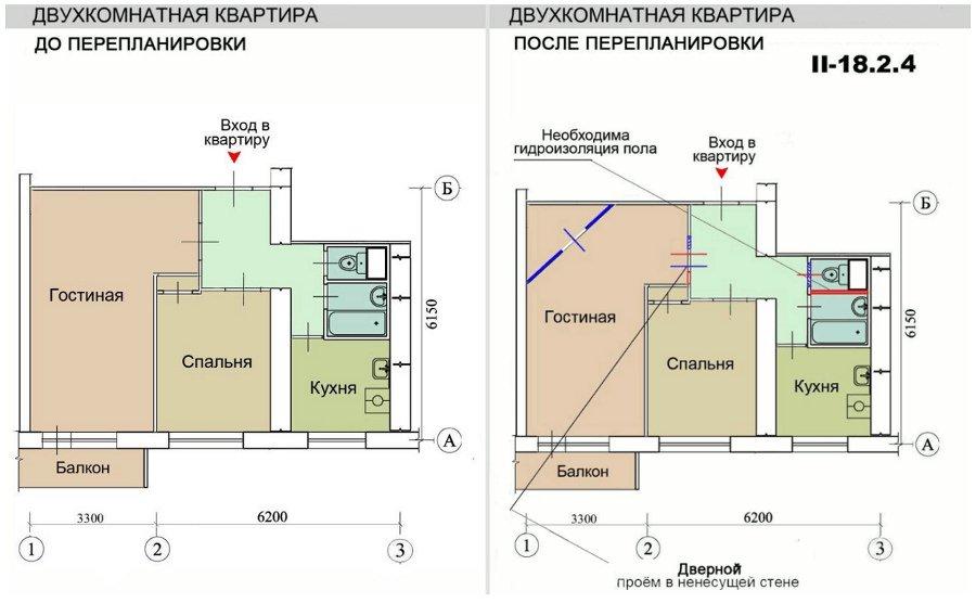 Ремонт квартир в домах серии ii-18/12 б, перепланировка квар.