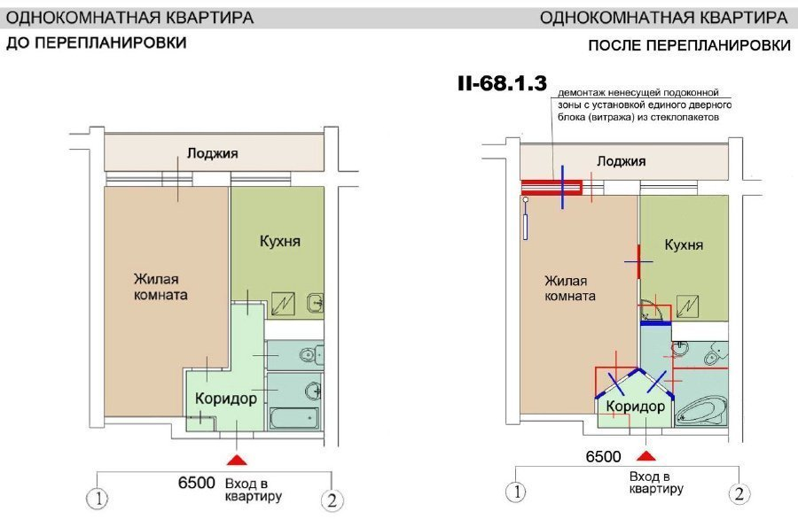 Размер балкона серии ii68..