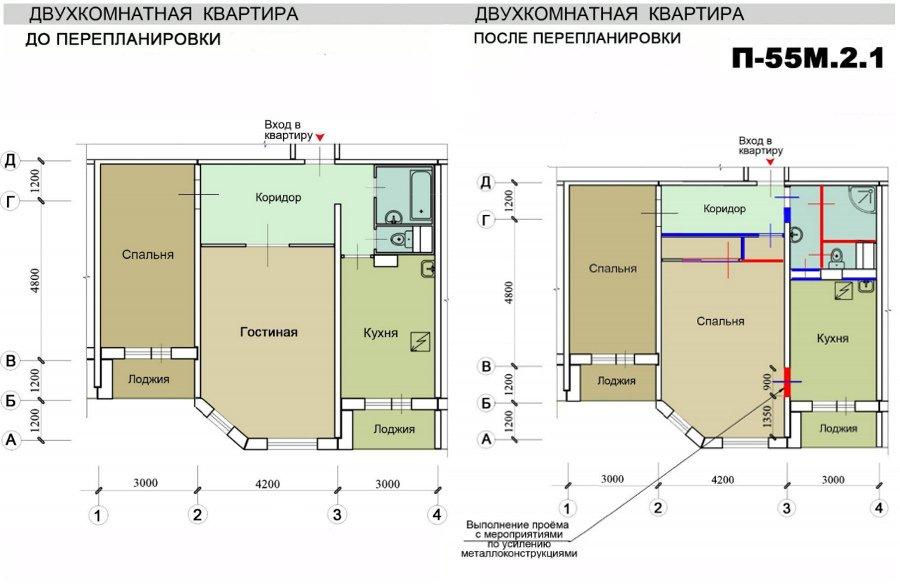 Каталог типовых перепланировок квартир