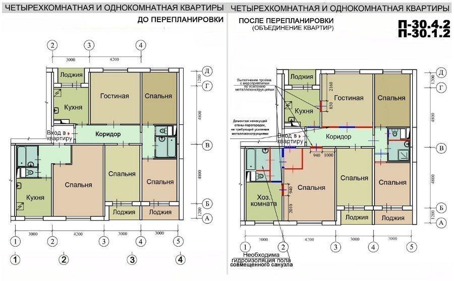 Ремонт квартир в домах серии п-30, перепланировка квартир.