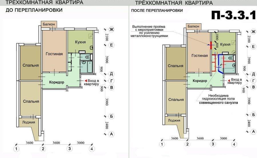 Ремонт квартир в домах серии п-3, перепланировка квартир.