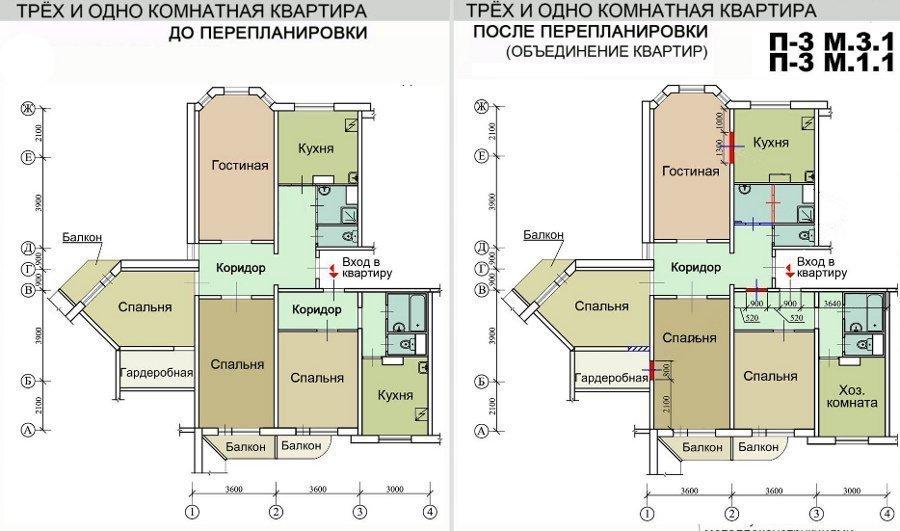 Объединение трёх- и однокомнатной квартиры в домах серии п-3м в одну 4 комнатную выполняется посредством выполнения