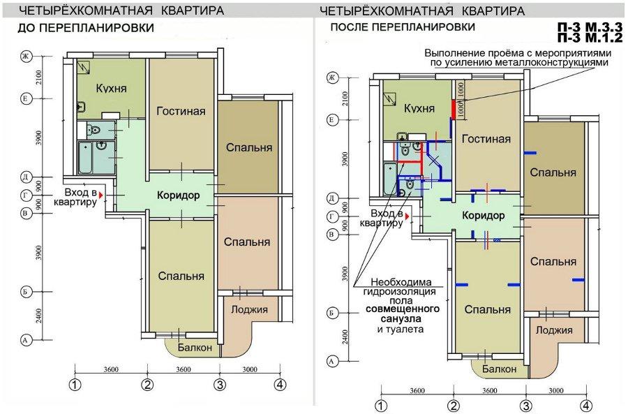 Ремонт квартир в домах серии п-3м, перепланировка квартир.