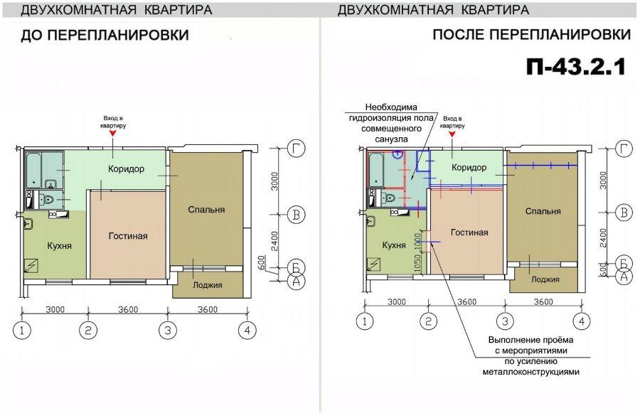 Ремонт квартир в домах серии п-43, перепланировка квартир.