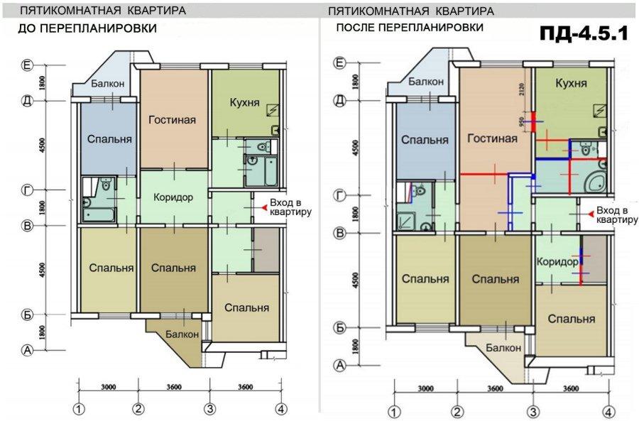 Ремонт квартир в домах серии пд-4, перепланировка квартир.