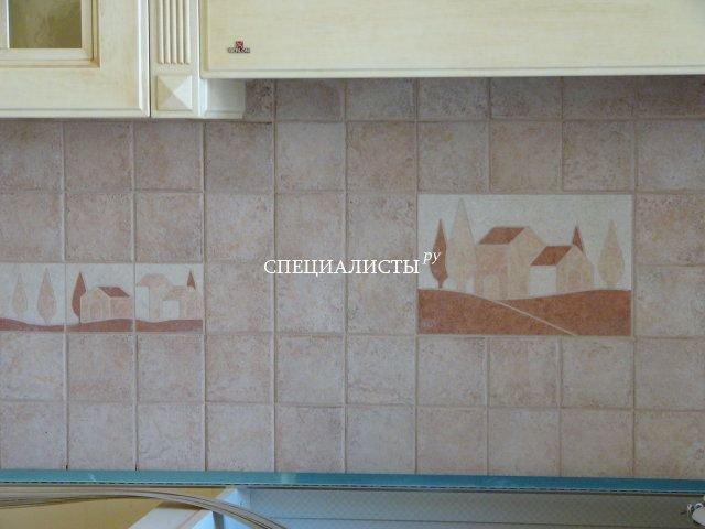 Фартук на кухне плитка 10х10 с декорами